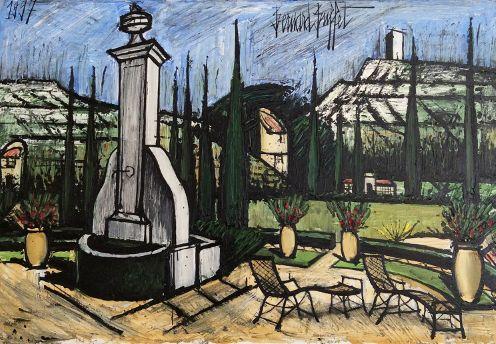 Huile sur toile de Bernard Buffet : « La Baume, la fontaine et la terrasse »