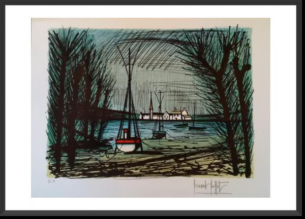BUFFET Bernard Barques à marée basse 57,5 x 75,5 cm