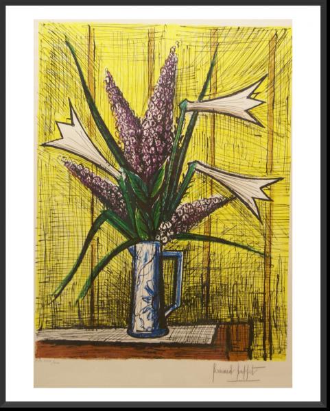 BUFFET Bernard Lys et Lilas 73 x 54 cm