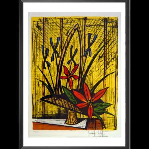 Lithographie Fleurs rouges et bleues sur fond jaune