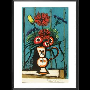 Bouquet au fond bleu par Bernard Buffet
