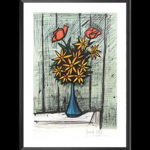 Lithographie Bouquet de marguerites aux deux roses