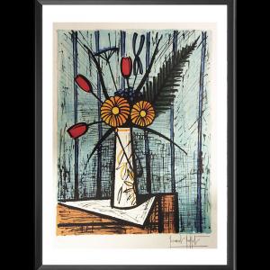 Lithographie Buffet - Tulipes Et Soucis