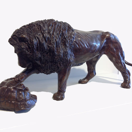 Colcombet-Le-lion-et-la-tortue-Bronze