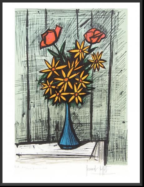 BUFFET Bernard Bouquet de marguerites aux deux roses 74 cm x 57 cm