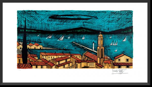 Lithographie Buffet St Tropez et les voiliers,